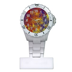 Abstract In Gold, Blue, And Red Nurses Watches