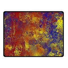 Abstract in Gold, Blue, and Red Double Sided Fleece Blanket (Small)