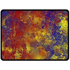 Abstract in Gold, Blue, and Red Double Sided Fleece Blanket (Large)