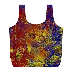 Abstract in Gold, Blue, and Red Full Print Recycle Bags (L)