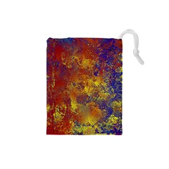 Abstract In Gold, Blue, And Red Drawstring Pouches (small)