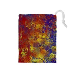 Abstract In Gold, Blue, And Red Drawstring Pouches (medium)