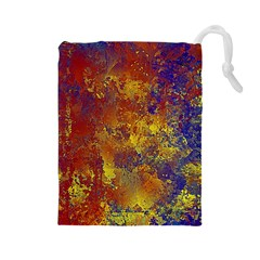 Abstract In Gold, Blue, And Red Drawstring Pouches (large)