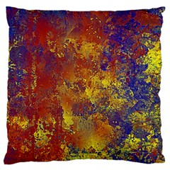 Abstract In Gold, Blue, And Red Large Flano Cushion Cases (two Sides)