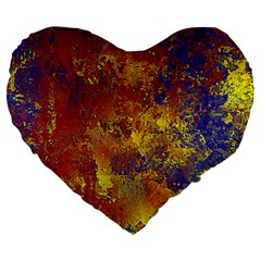Abstract in Gold, Blue, and Red Large 19  Premium Flano Heart Shape Cushions