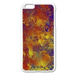 Abstract In Gold, Blue, And Red Apple Iphone 6 Plus Enamel White Case