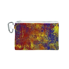 Abstract In Gold, Blue, And Red Canvas Cosmetic Bag (s)