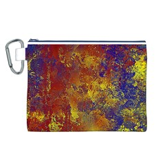 Abstract in Gold, Blue, and Red Canvas Cosmetic Bag (L)