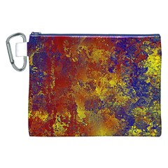 Abstract in Gold, Blue, and Red Canvas Cosmetic Bag (XXL)