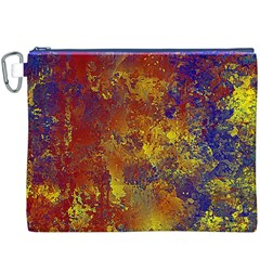Abstract in Gold, Blue, and Red Canvas Cosmetic Bag (XXXL)