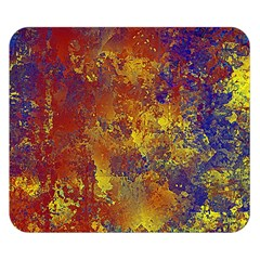 Abstract in Gold, Blue, and Red Double Sided Flano Blanket (Small)