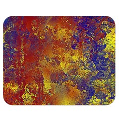 Abstract in Gold, Blue, and Red Double Sided Flano Blanket (Medium)