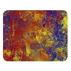 Abstract In Gold, Blue, And Red Double Sided Flano Blanket (large)