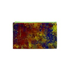 Abstract in Gold, Blue, and Red Cosmetic Bag (XS)