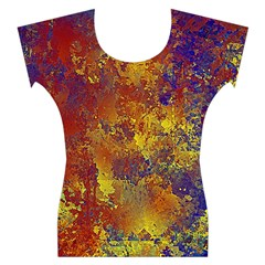 Abstract in Gold, Blue, and Red Women s Cap Sleeve Top