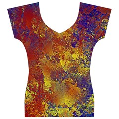 Abstract in Gold, Blue, and Red Women s V-Neck Cap Sleeve Top