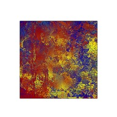Abstract In Gold, Blue, And Red Satin Bandana Scarf