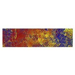 Abstract in Gold, Blue, and Red Satin Scarf (Oblong)
