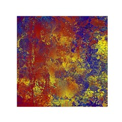 Abstract In Gold, Blue, And Red Small Satin Scarf (square)