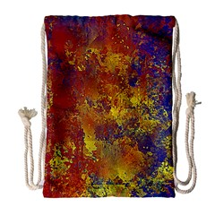 Abstract in Gold, Blue, and Red Drawstring Bag (Large)