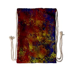 Abstract In Gold, Blue, And Red Drawstring Bag (small)