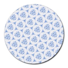 Sweet Doodle Pattern Blue Round Mousepads