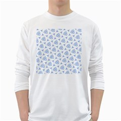 Sweet Doodle Pattern Blue White Long Sleeve T-Shirts