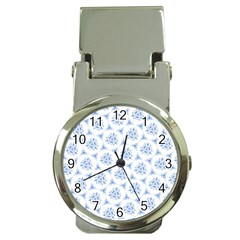Sweet Doodle Pattern Blue Money Clip Watches