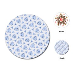 Sweet Doodle Pattern Blue Playing Cards (Round)
