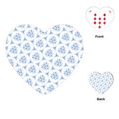 Sweet Doodle Pattern Blue Playing Cards (heart)