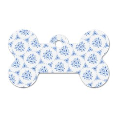 Sweet Doodle Pattern Blue Dog Tag Bone (two Sides)