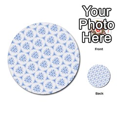 Sweet Doodle Pattern Blue Multi Purpose Cards (round)
