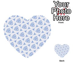 Sweet Doodle Pattern Blue Multi-purpose Cards (Heart)
