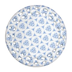 Sweet Doodle Pattern Blue Round Filigree Ornament (2Side)