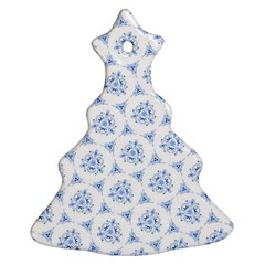 Sweet Doodle Pattern Blue Christmas Tree Ornament (2 Sides)