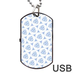 Sweet Doodle Pattern Blue Dog Tag Usb Flash (two Sides)