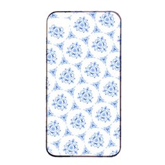 Sweet Doodle Pattern Blue Apple iPhone 4/4s Seamless Case (Black)