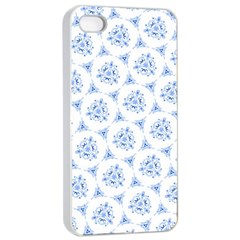 Sweet Doodle Pattern Blue Apple iPhone 4/4s Seamless Case (White)