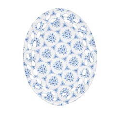 Sweet Doodle Pattern Blue Ornament (oval Filigree)