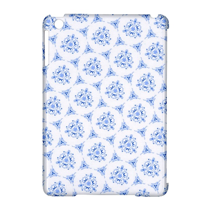 Sweet Doodle Pattern Blue Apple iPad Mini Hardshell Case (Compatible with Smart Cover)