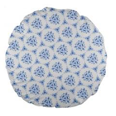 Sweet Doodle Pattern Blue Large 18  Premium Round Cushions