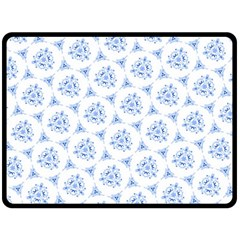 Sweet Doodle Pattern Blue Double Sided Fleece Blanket (Large)