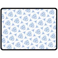 Sweet Doodle Pattern Blue Double Sided Fleece Blanket (large)
