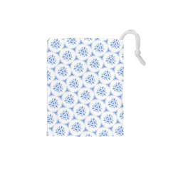 Sweet Doodle Pattern Blue Drawstring Pouches (Small)