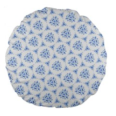 Sweet Doodle Pattern Blue Large 18  Premium Flano Round Cushions