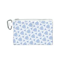 Sweet Doodle Pattern Blue Canvas Cosmetic Bag (S)