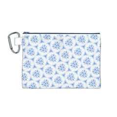 Sweet Doodle Pattern Blue Canvas Cosmetic Bag (m)