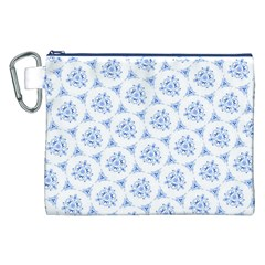 Sweet Doodle Pattern Blue Canvas Cosmetic Bag (XXL)