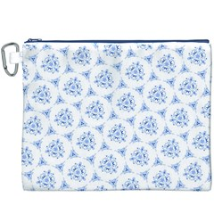 Sweet Doodle Pattern Blue Canvas Cosmetic Bag (XXXL)