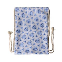 Sweet Doodle Pattern Blue Drawstring Bag (Small)